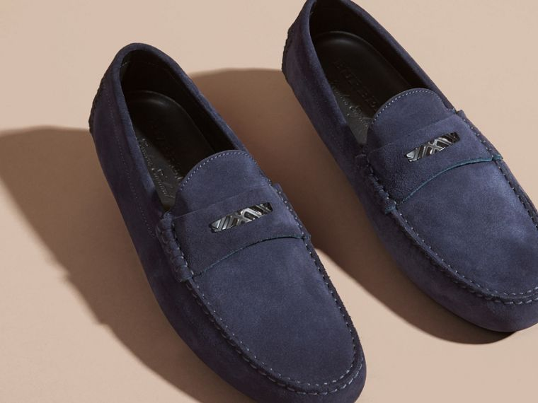 Suede Loafers with Engraved Check Detail