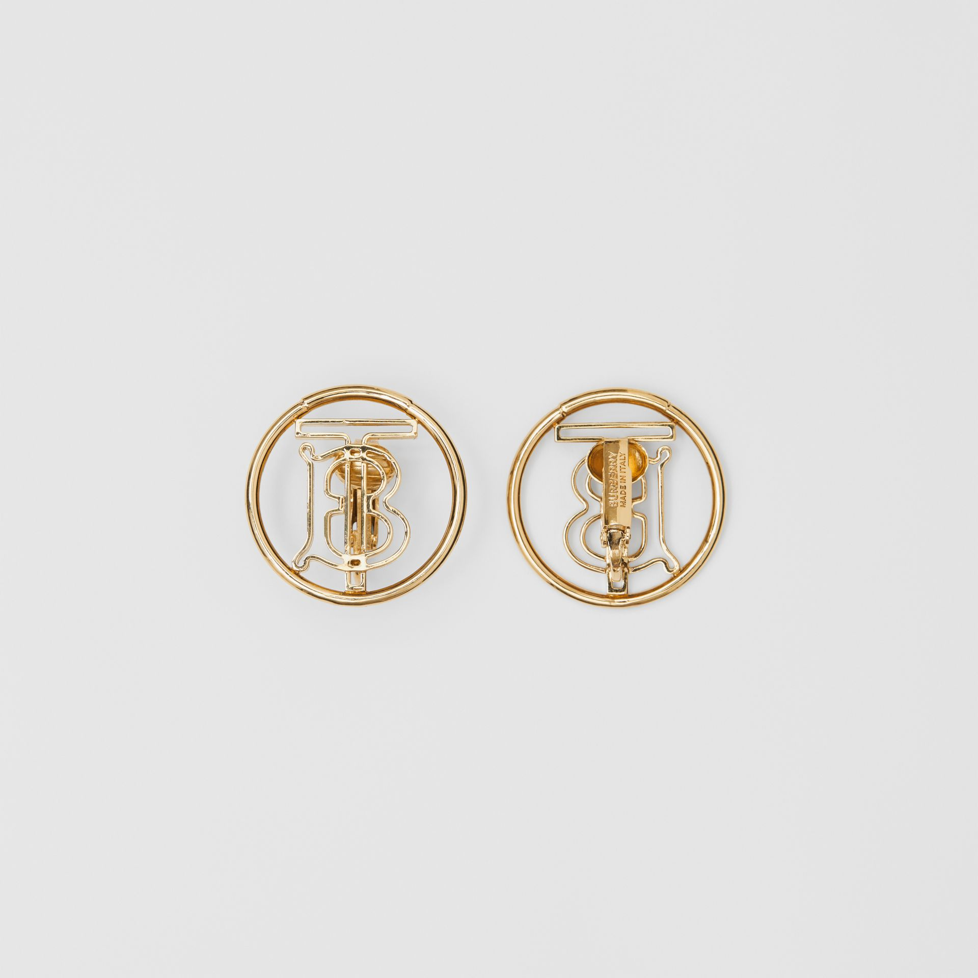 Gold-plated Monogram Motif Earrings in Light | Burberry - gallery image 1