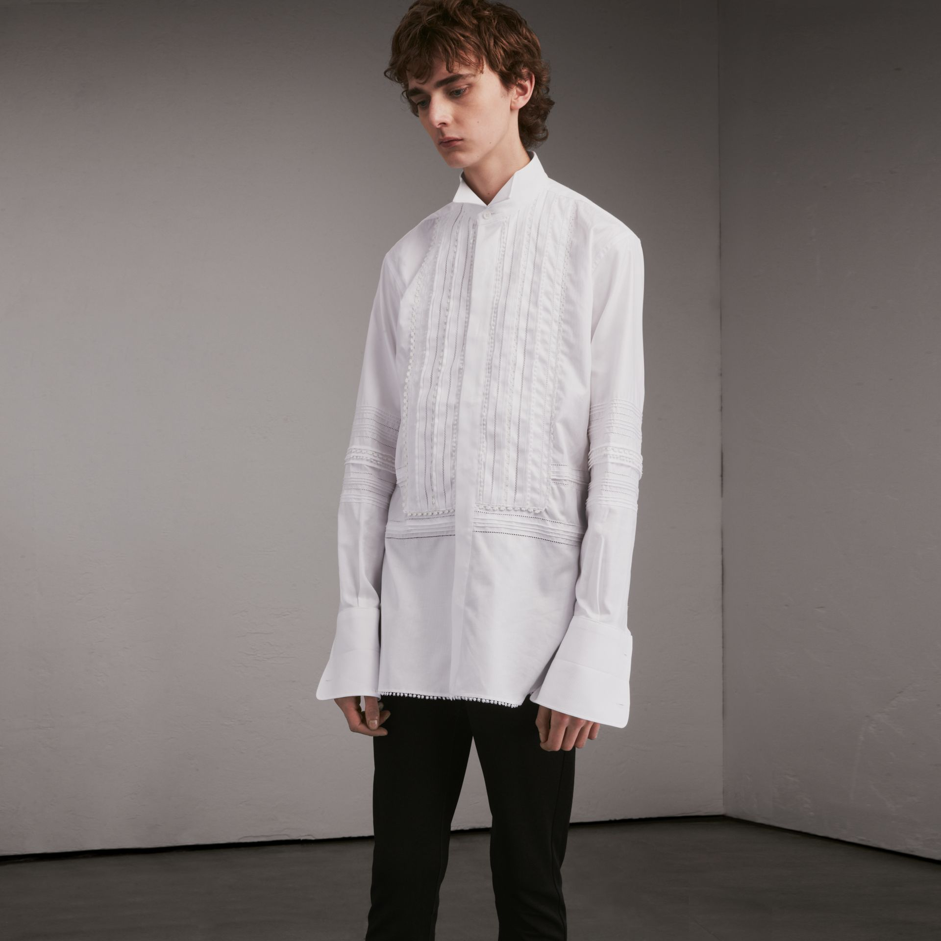 Cotton Evening Shirt with Pintucks and Macramé Trim in White - Men | Burberry Australia - gallery image 1