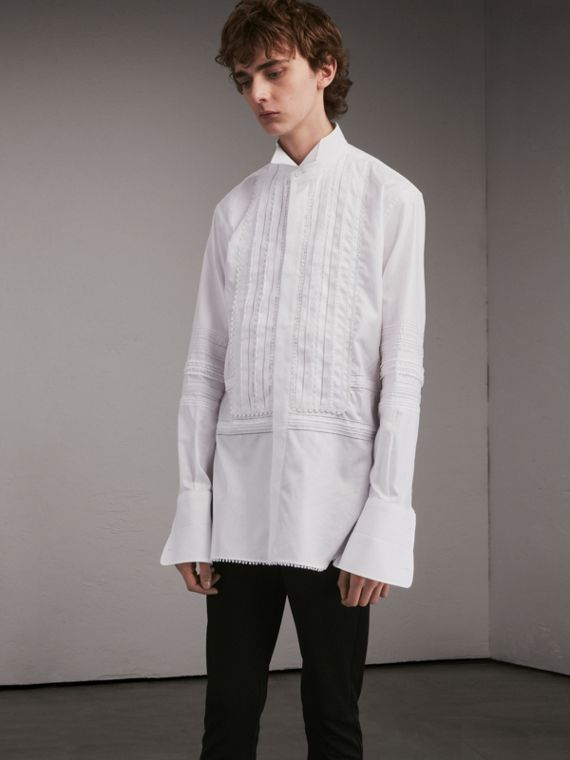 Cotton Evening Shirt with Pintucks and Macramé Trim - Men | Burberry