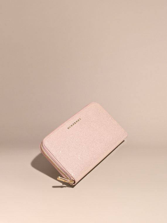 Glitter Patent London Leather Ziparound Wallet Pale Orchid