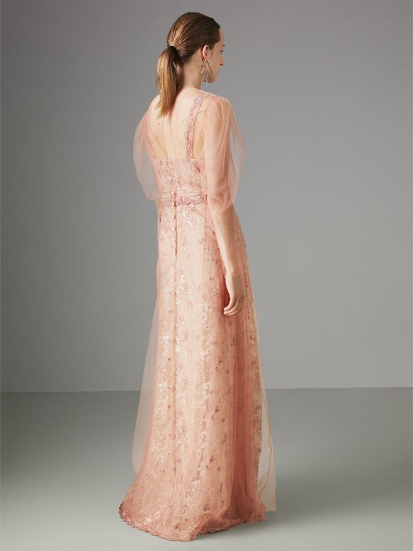 Floral-embroidered Puff-sleeve Dress in Dusty Pink - Women | Burberry - cell image 2