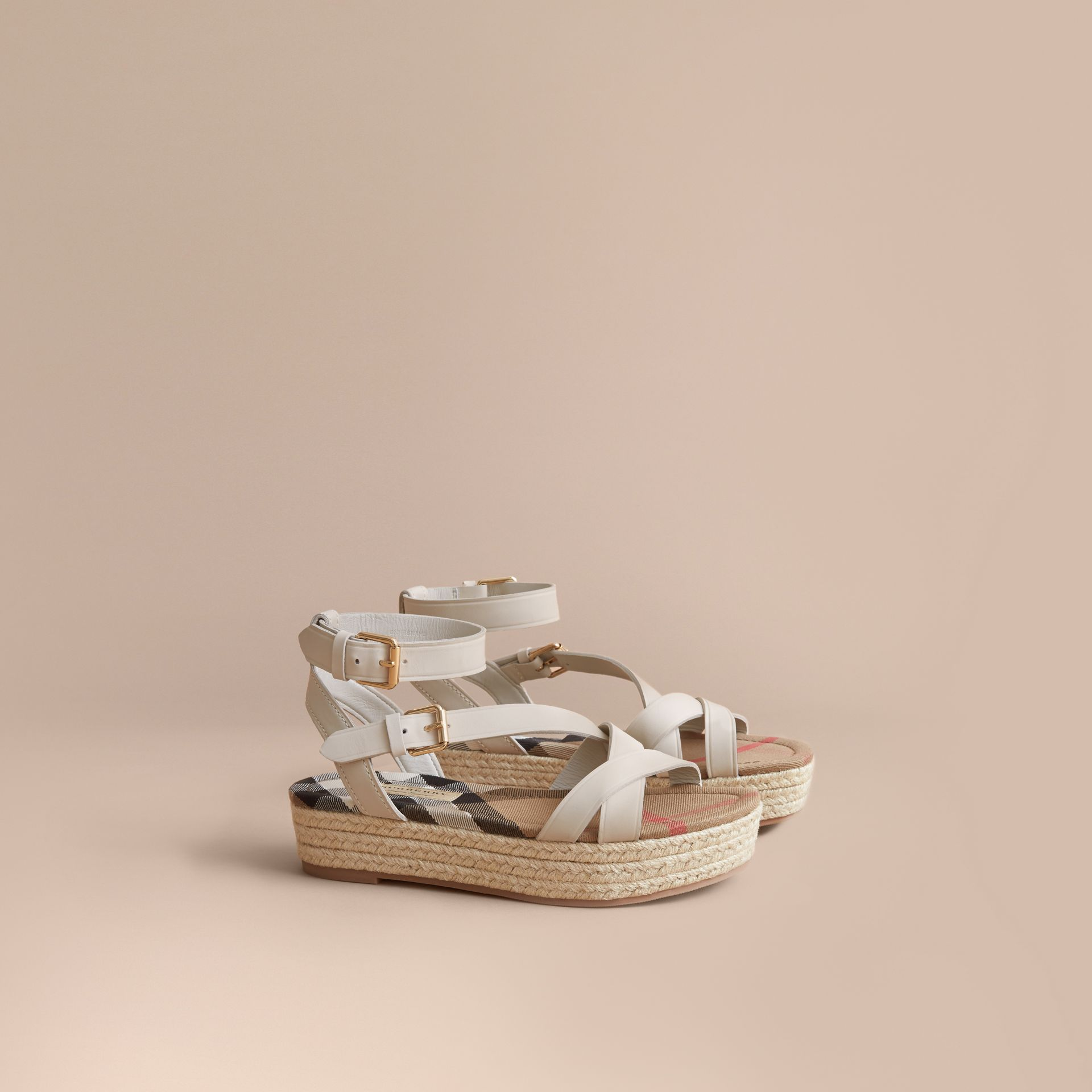 Leather and House Check Espadrille Sandals in Off White - Women | Burberry - gallery image 0