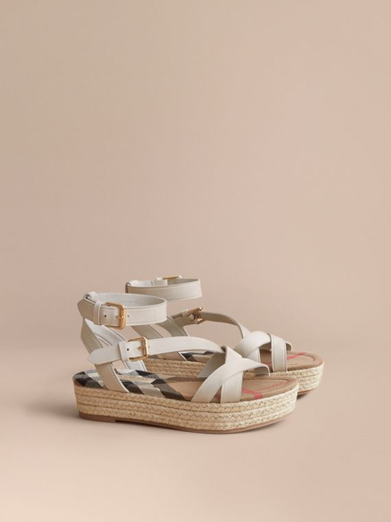 Leather and House Check Espadrille Sandals in Off White