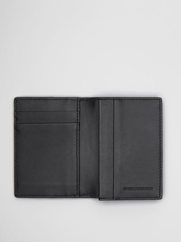 Small Scale Check and Leather Folding Card Case in Antique Yellow/black - Men | Burberry Australia - cell image 3
