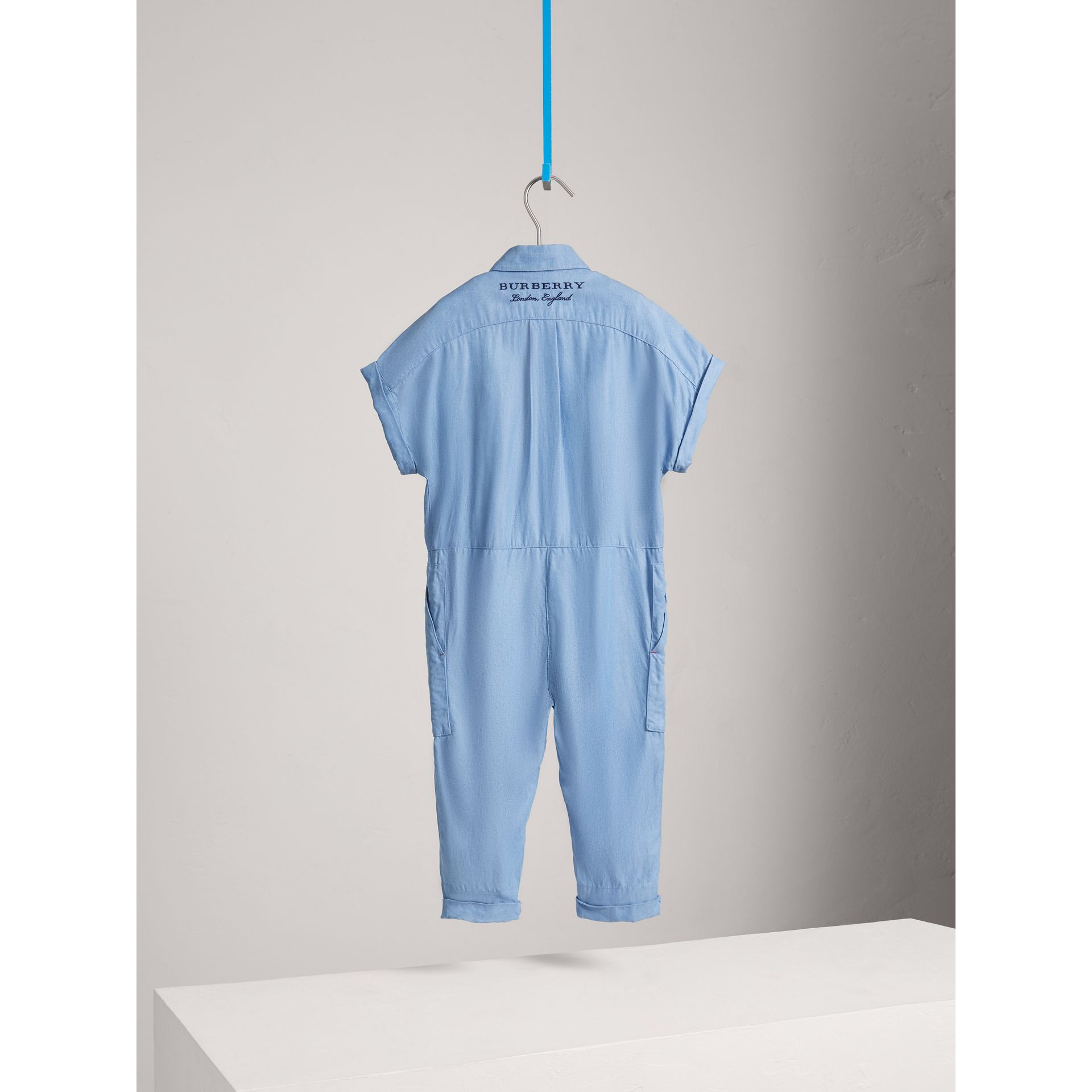 Short-sleeve Chambray Jumpsuit in Steel Blue - Girl | Burberry - gallery image 3