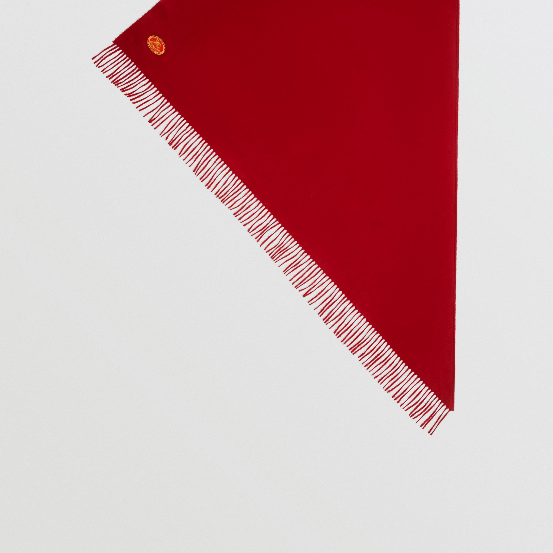 The Burberry Bandana in Embroidered Cashmere in Parade Red | Burberry United Kingdom - gallery image 4