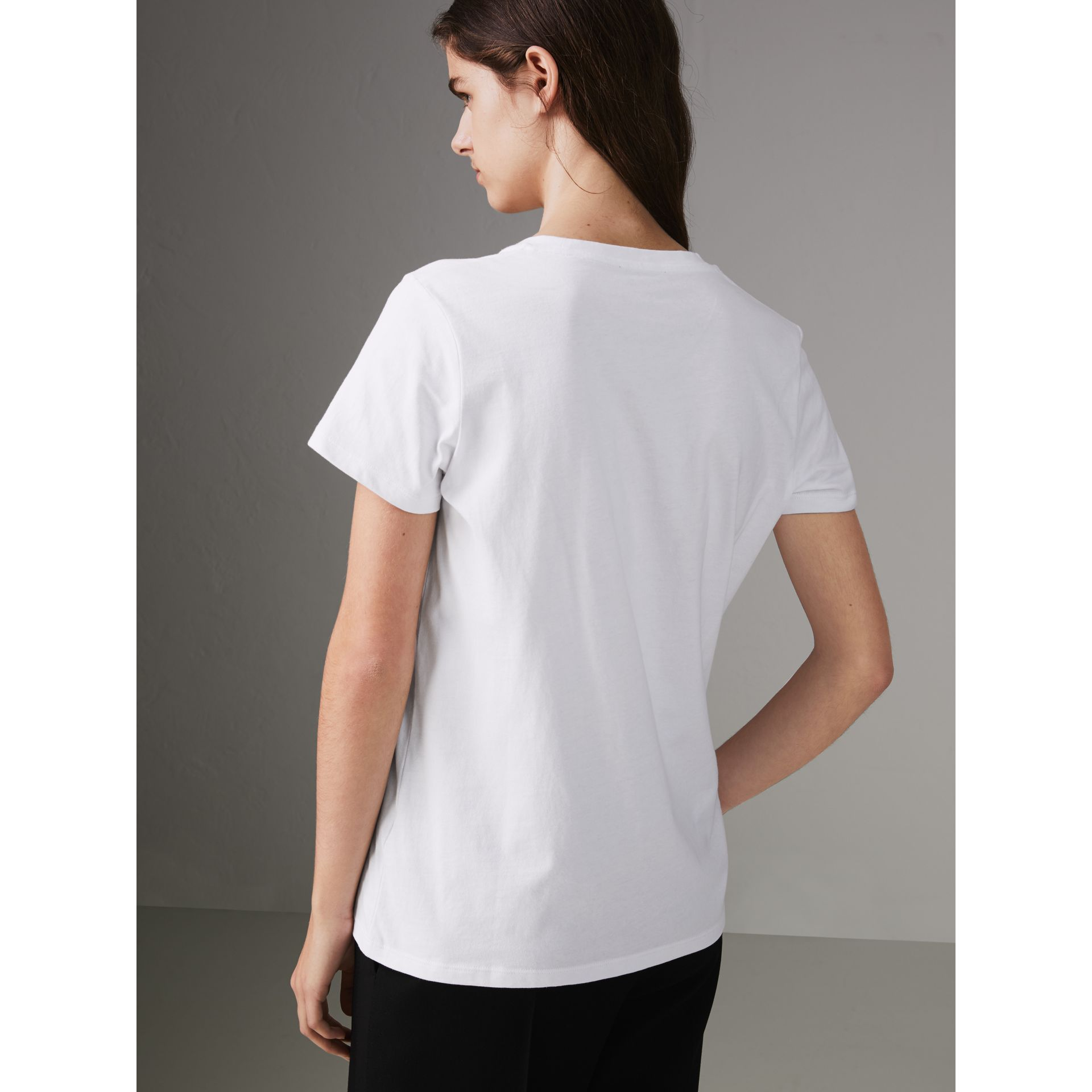 Embroidered Archive Logo Cotton T-shirt in White - Women | Burberry United Kingdom - gallery image 2