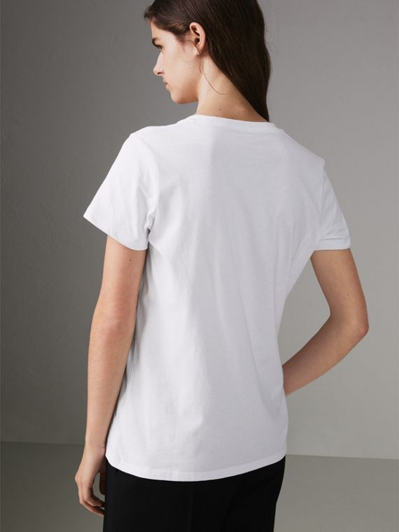 Embroidered Archive Logo Cotton T-shirt in White - Women | Burberry - cell image 2