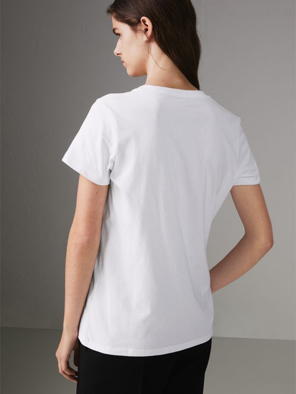 Embroidered Archive Logo Cotton T-shirt in White - Women | Burberry Canada - cell image 2