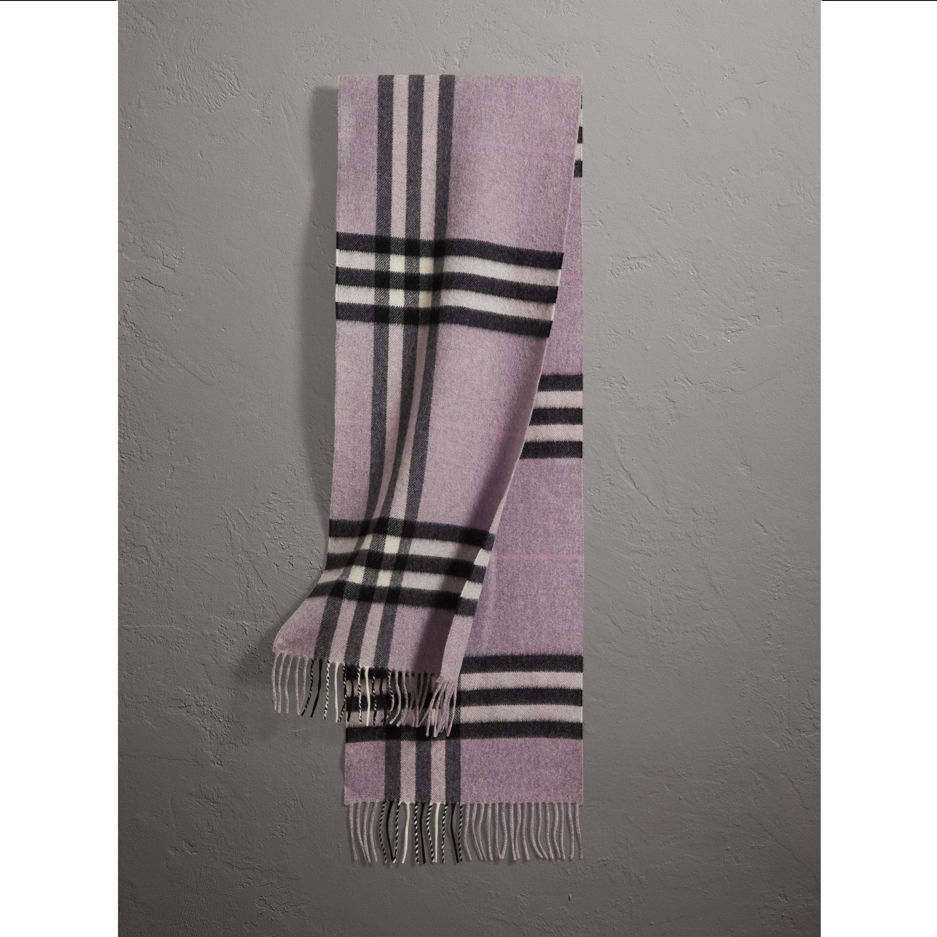 The Classic Cashmere Scarf in Check in Dusty Lilac | Burberry Australia - gallery image 1