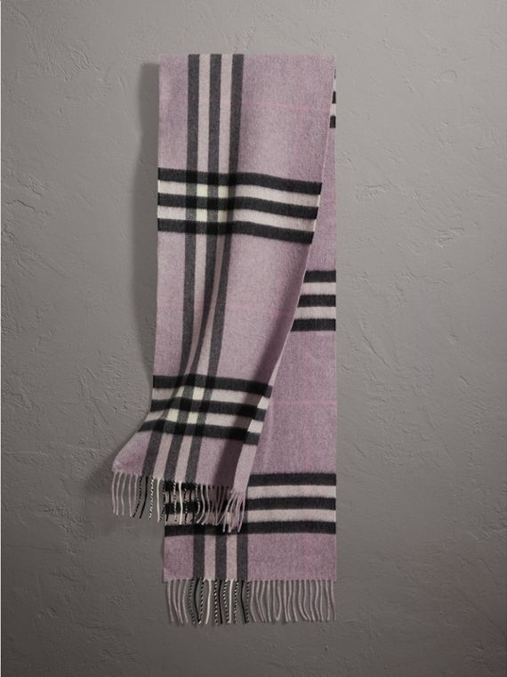 The Classic Cashmere Scarf in Check in Dusty Lilac | Burberry Singapore