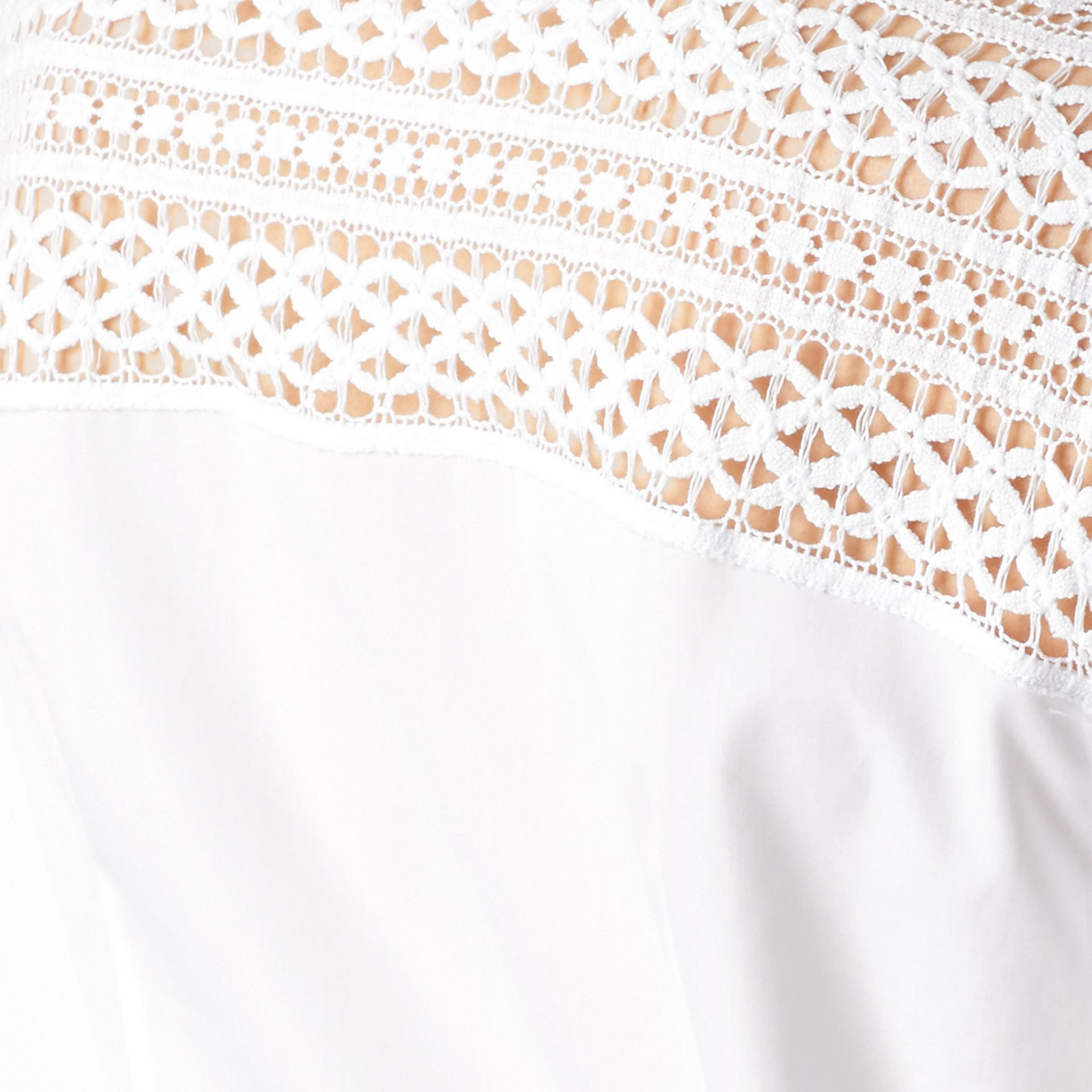 White Macramé Lace Detail Cotton Shirt - gallery image 2