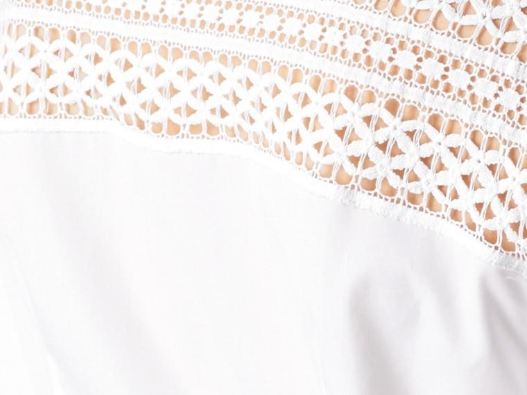 Bianco Camicia in cotone con dettagli in pizzo macramè - cell image 1