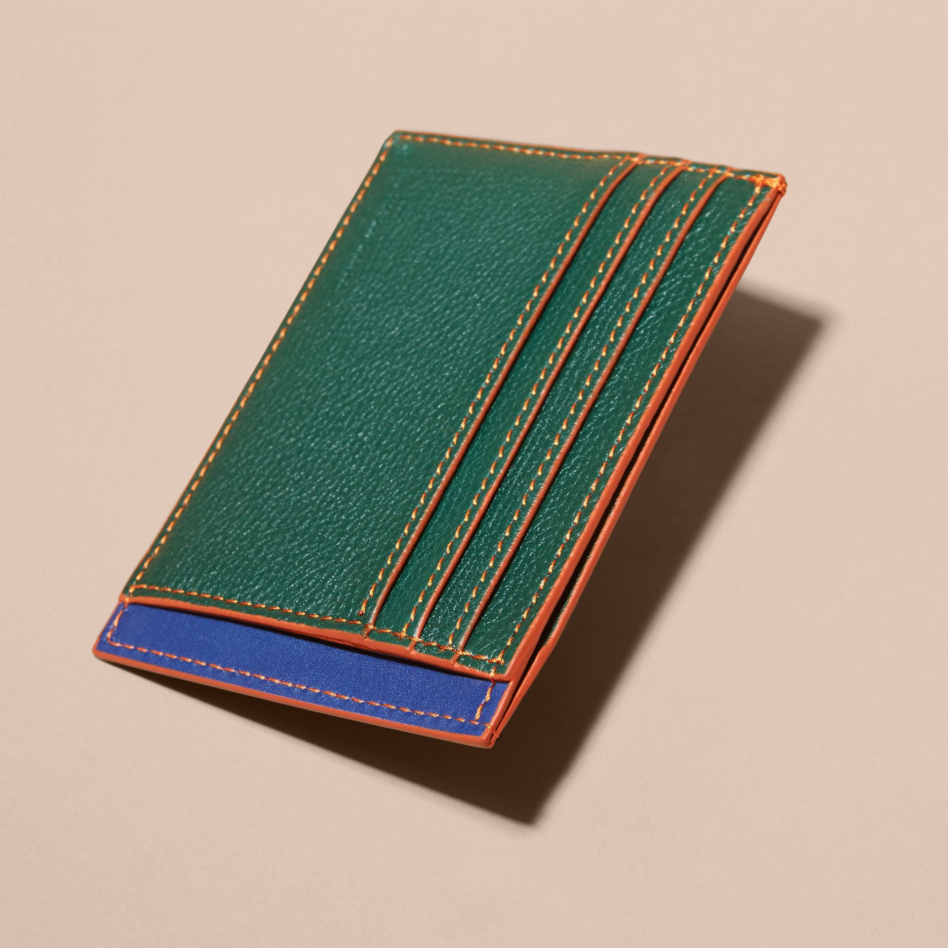 Colour Block Leather Card Case Sea Green - gallery image 4