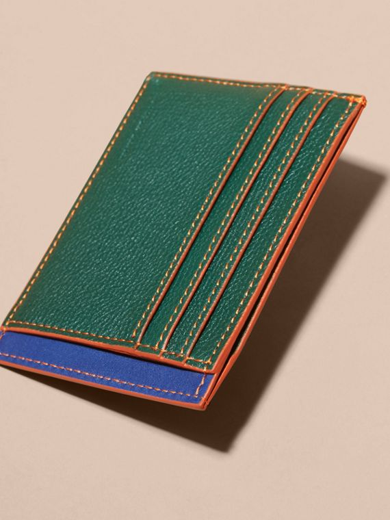 Colour Block Leather Card Case Sea Green - cell image 3