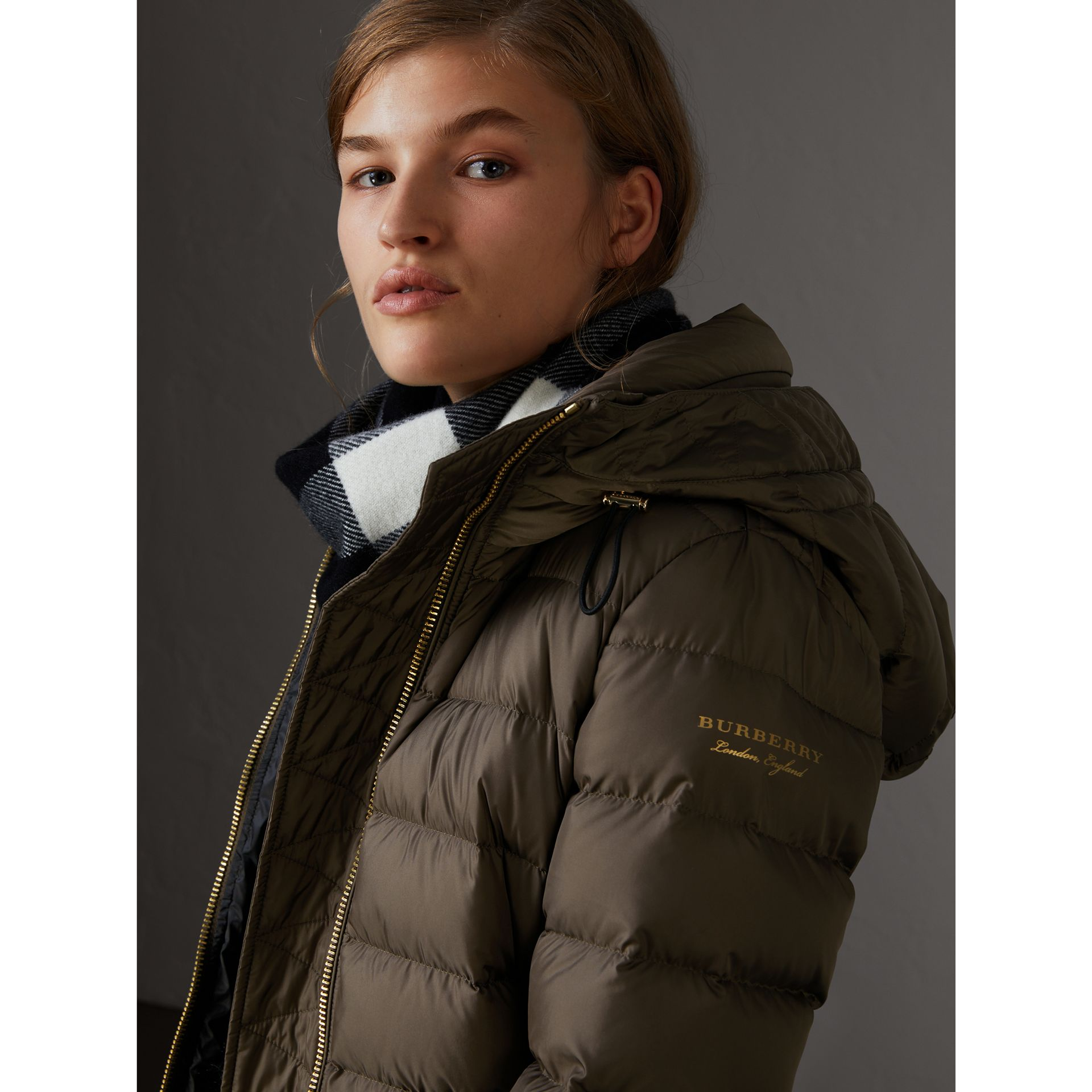 Hooded Down-filled Puffer Jacket in Mink Grey - Women | Burberry - gallery image 1