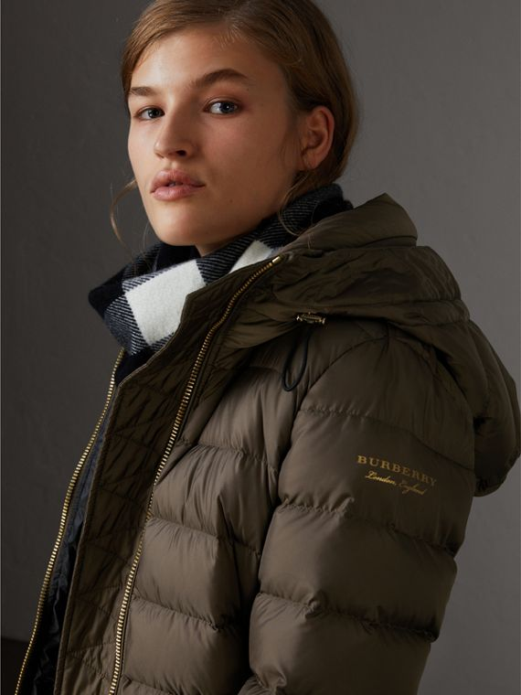 Hooded Down-filled Puffer Jacket in Mink Grey