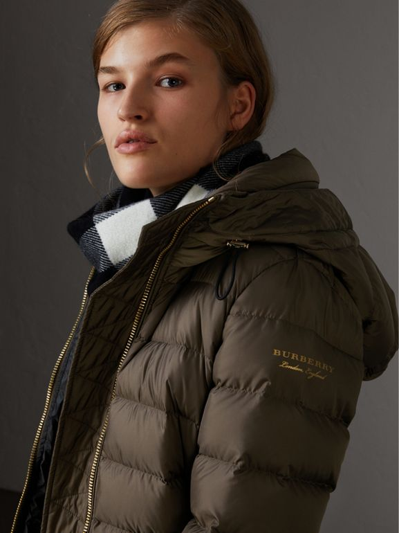 Hooded Down-filled Puffer Jacket in Mink Grey - Women | Burberry - cell image 1