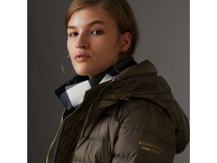 Hooded Down-filled Puffer Jacket in Mink Grey - Women | Burberry Hong Kong - cell image 1