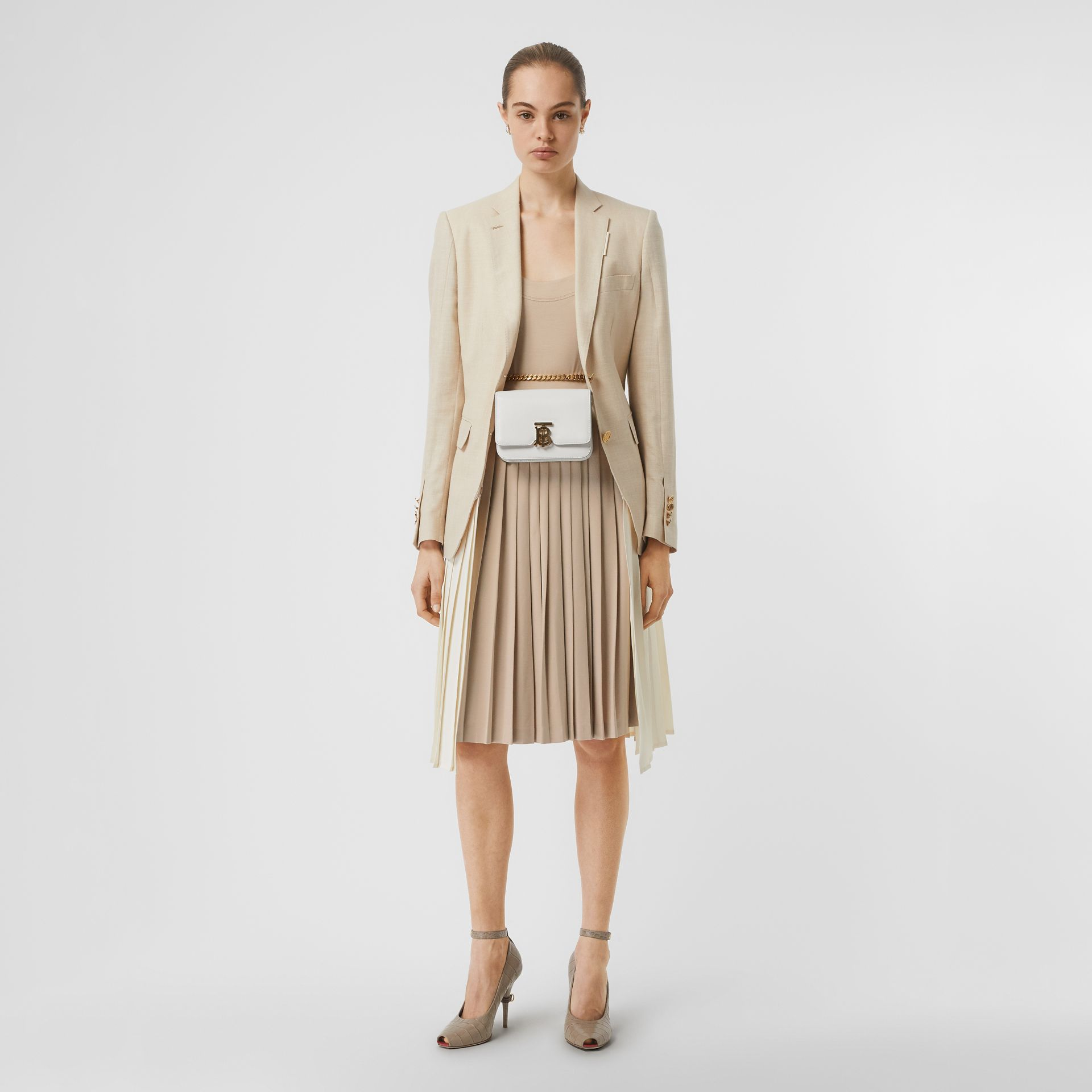 Long-sleeve Pleated Dress in Teddy Beige - Women | Burberry - gallery image 5