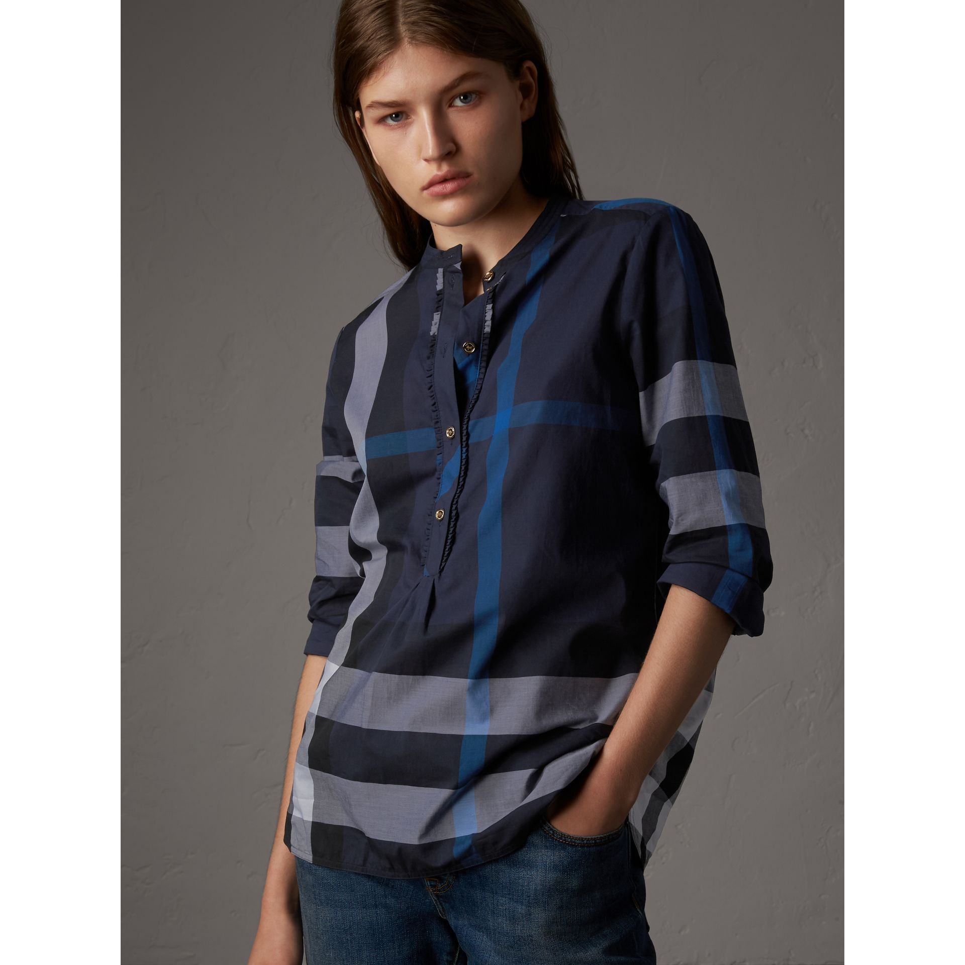 Check Grandad Collar Shirt in Navy - Women | Burberry - gallery image 0