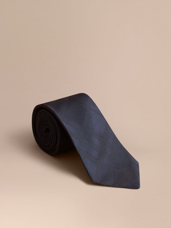 Classic Cut Check Silk Jacquard Tie in Navy - Men | Burberry