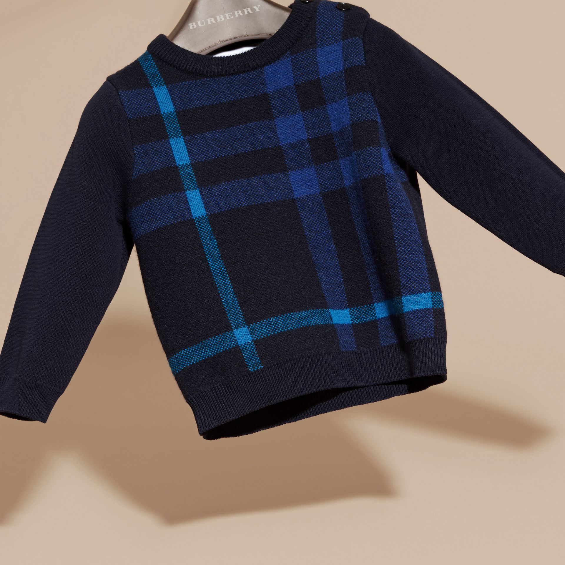 Navy Check Wool Cashmere Blend Sweater Navy - gallery image 3