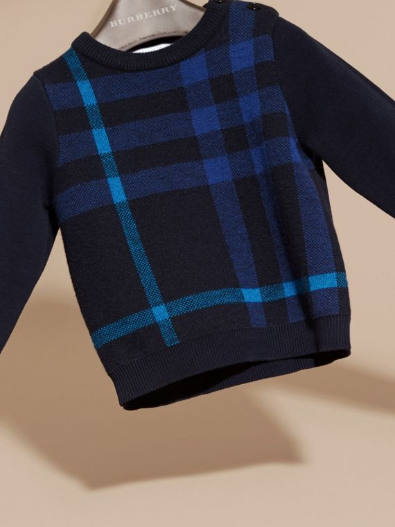 Check Wool Cashmere Blend Sweater in Navy - cell image 2
