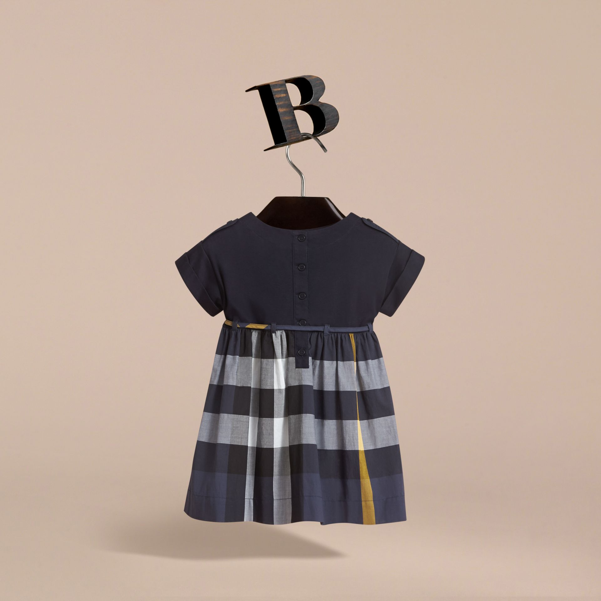 Cap Sleeve Check Cotton Dress in Pale Navy - Girl | Burberry - gallery image 4