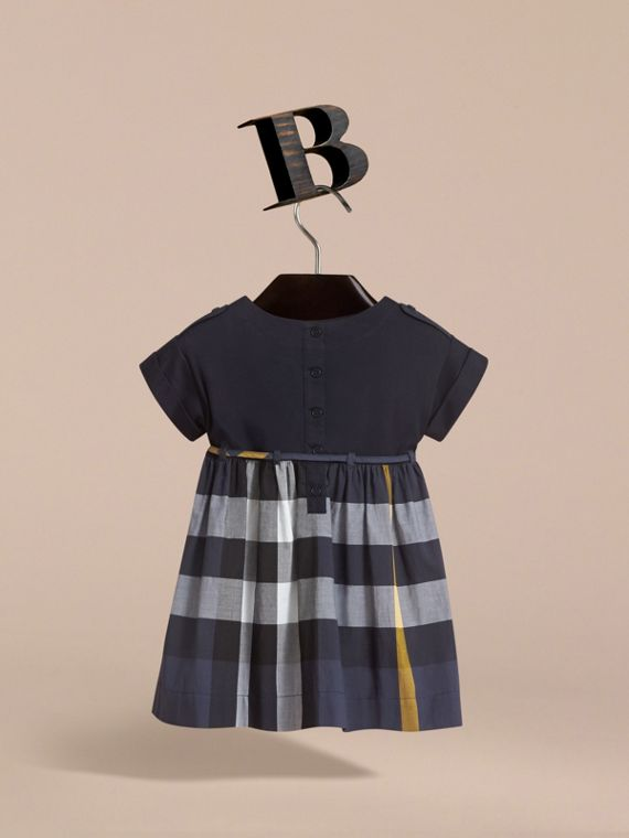 Cap Sleeve Check Cotton Dress in Pale Navy - Girl | Burberry - cell image 3
