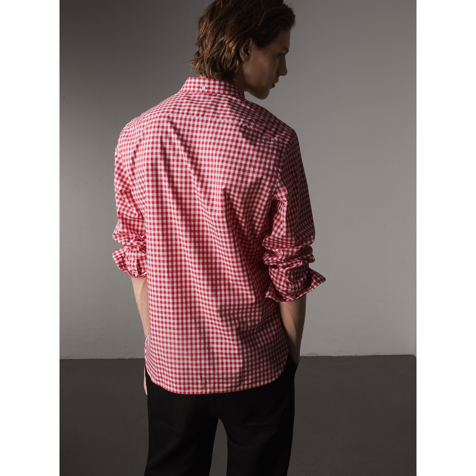 Button-down Collar Gingham Cotton Shirt in Parade Red - Men | Burberry - gallery image 2