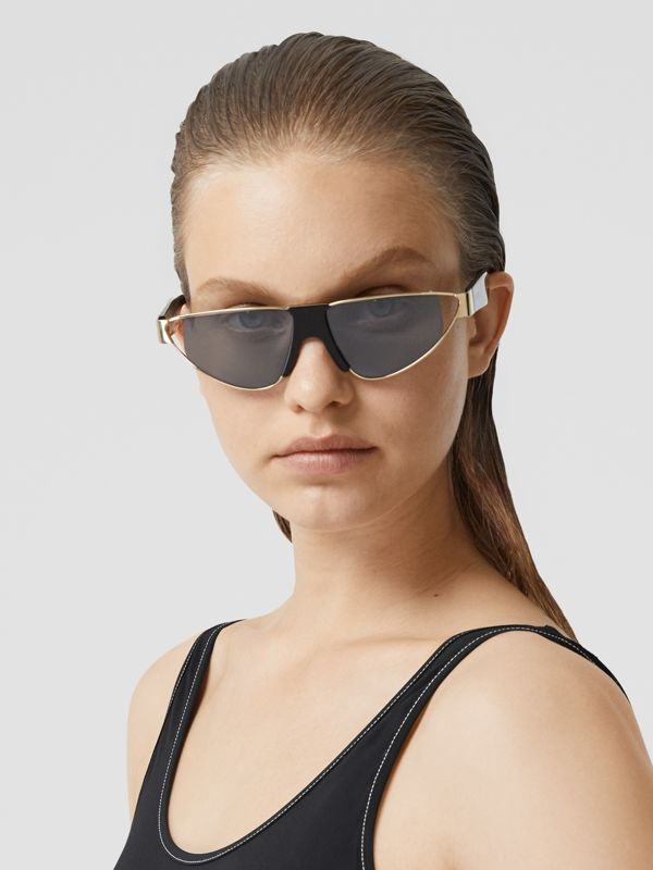 Gold-plated Triangular Frame Sunglasses in Black | Burberry Canada - cell image 2