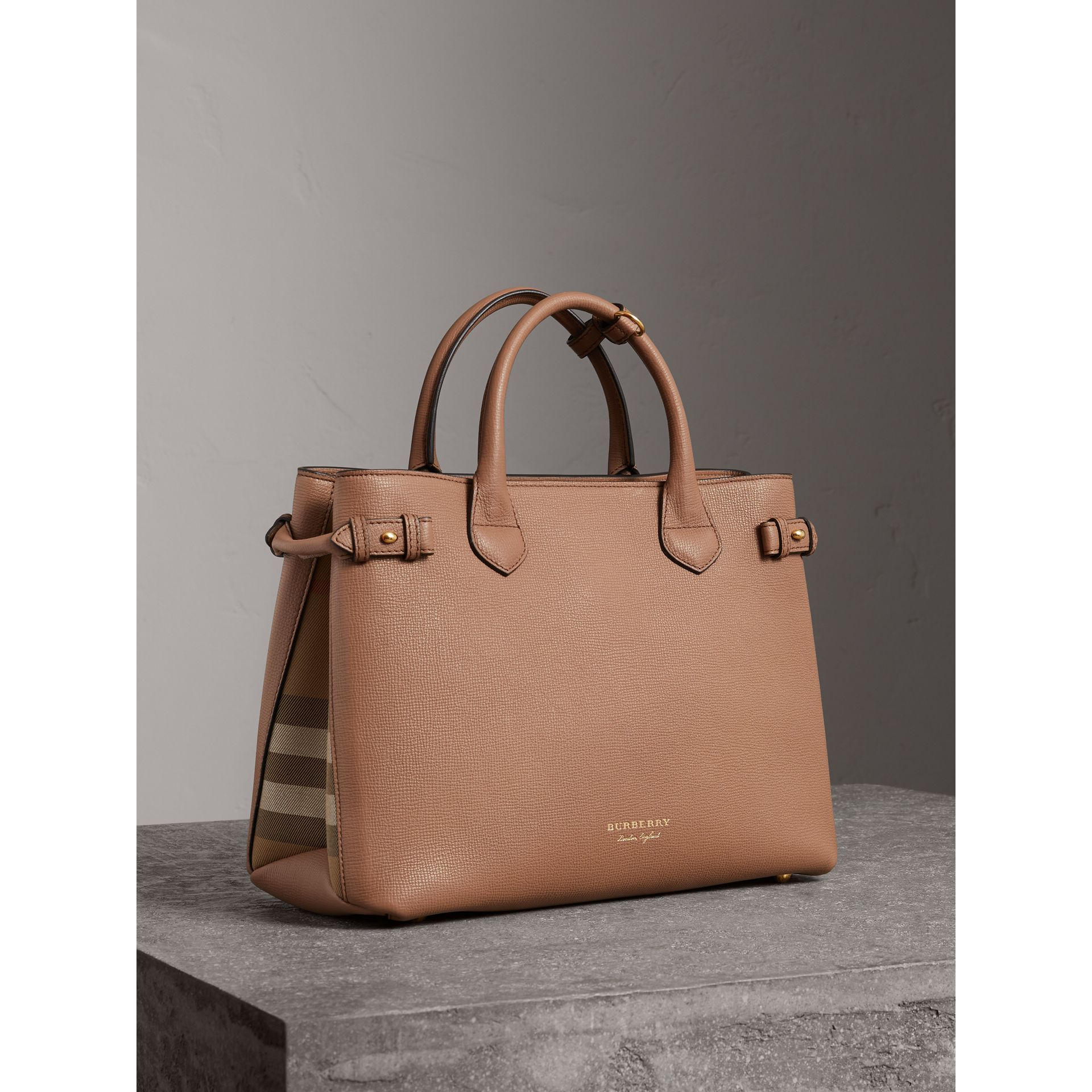 Sac The Banner medium en cuir et coton House check (Sable Foncé) - Femme | Burberry Canada - photo de la galerie 0
