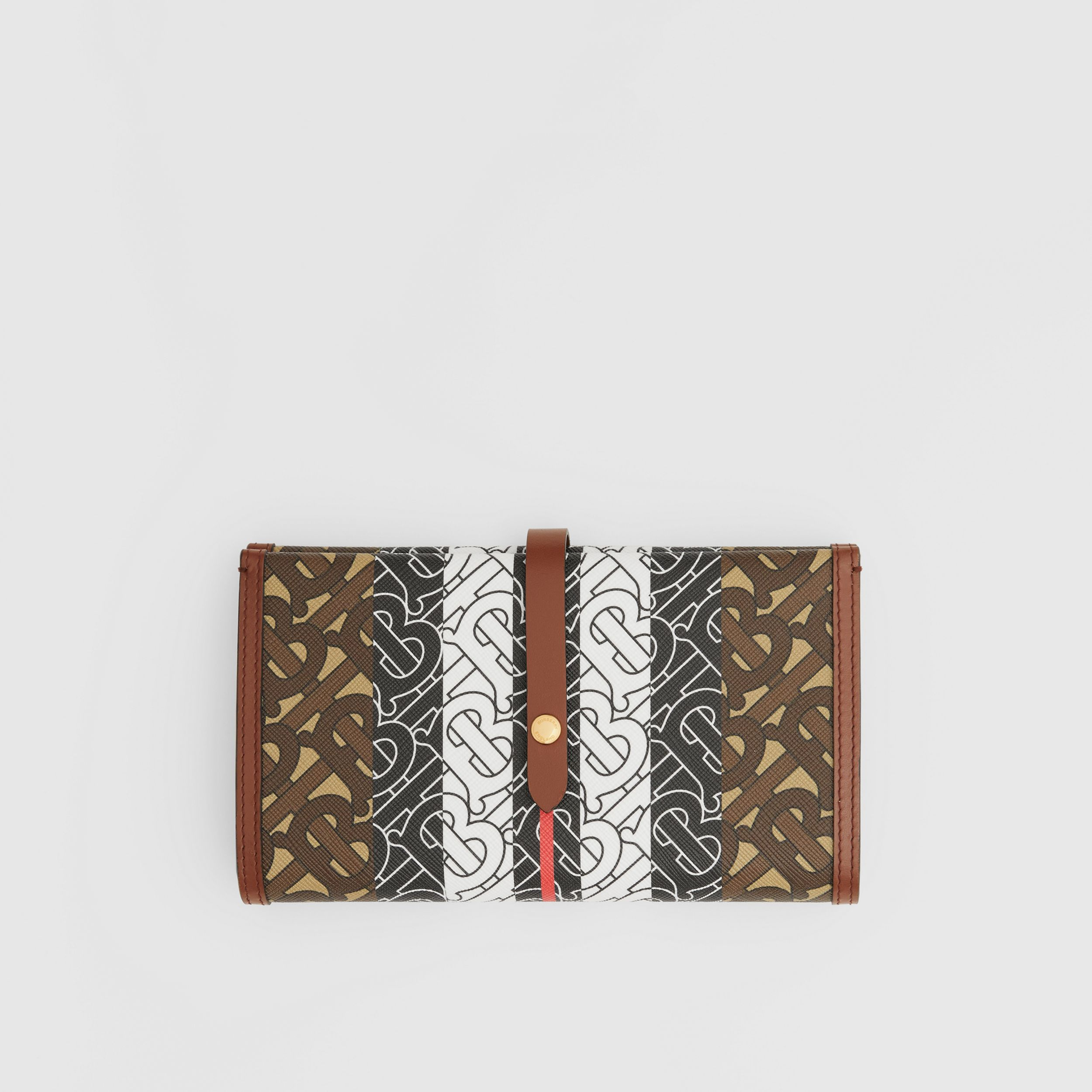Monogram Stripe E-canvas Folding Wallet in Bridle Brown - Women | Burberry - 1