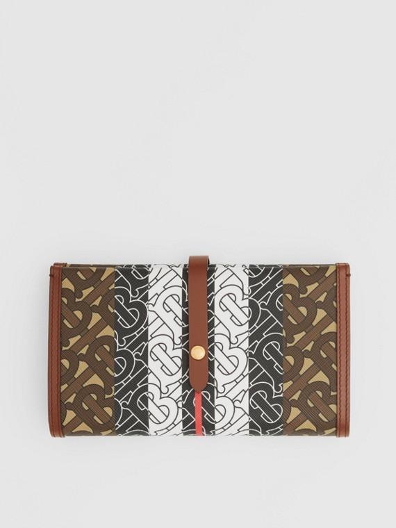 花押字條紋環保帆布對折皮夾 (馬勒棕)