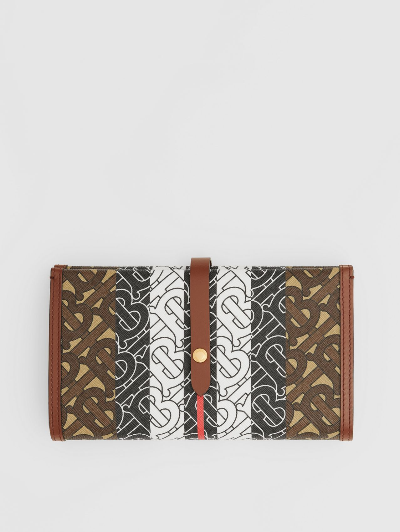 Monogram Stripe E-canvas Folding Wallet in Bridle Brown