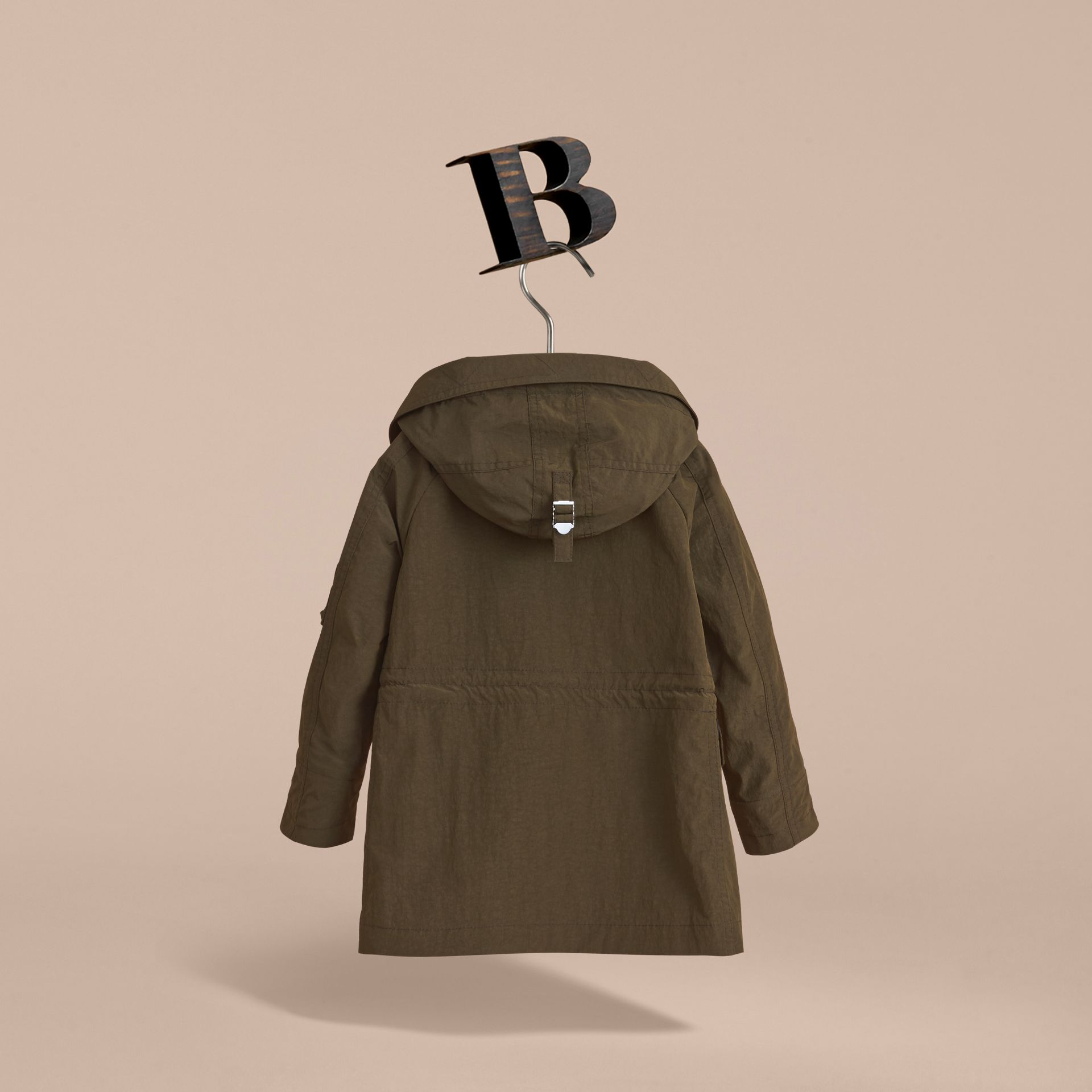 Leather Trim Hooded Utility Jacket in Dark Olive | Burberry - gallery image 4