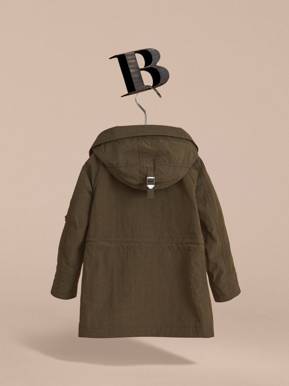 Leather Trim Hooded Utility Jacket in Dark Olive | Burberry - cell image 3