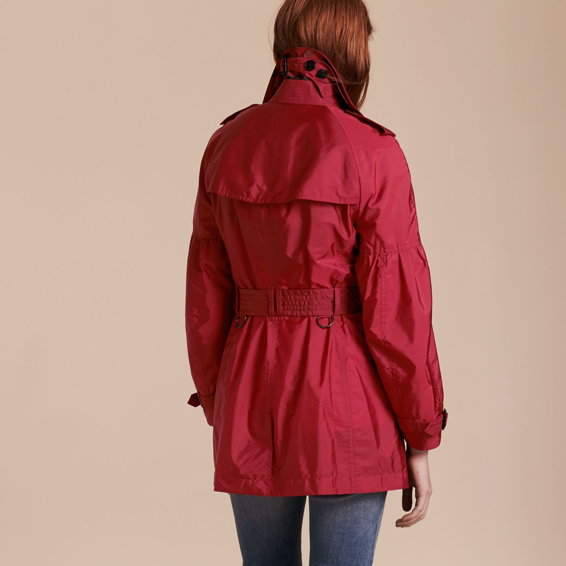Parade red Packaway Trench Coat with Puff Sleeves - gallery image 3