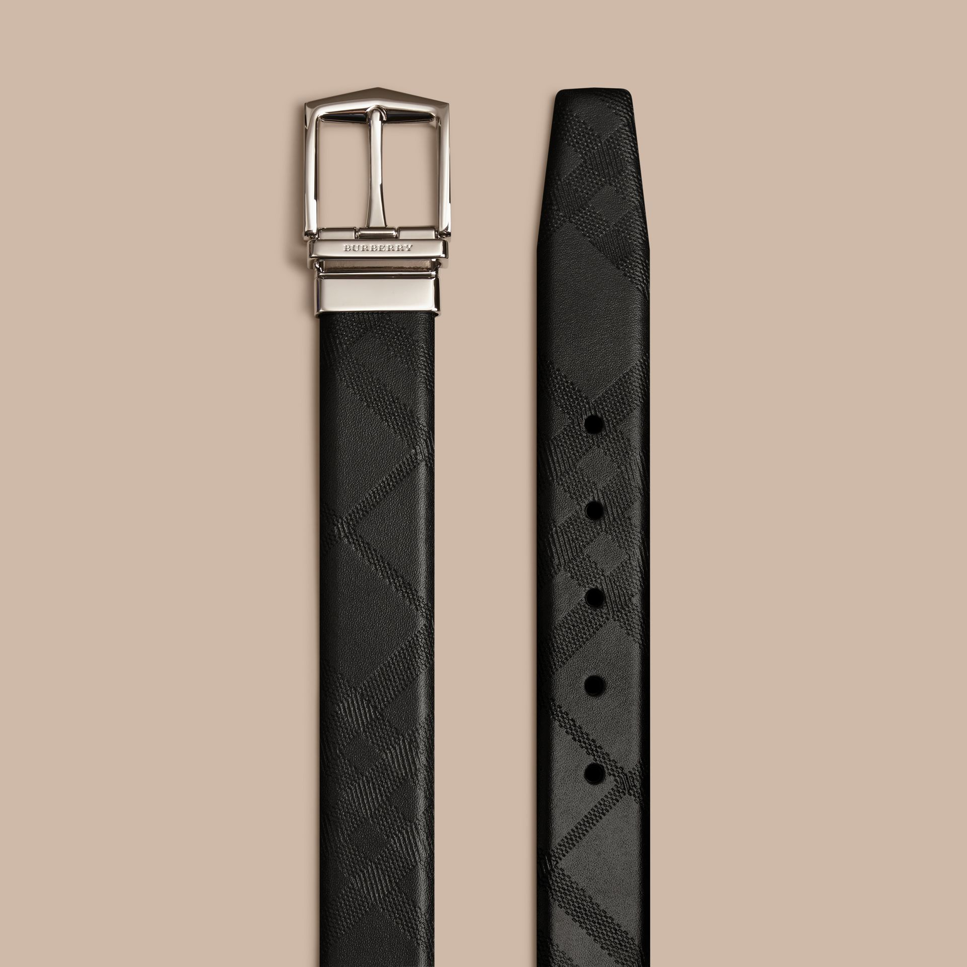 Black Reversible Embossed Check Leather Belt Black - gallery image 3