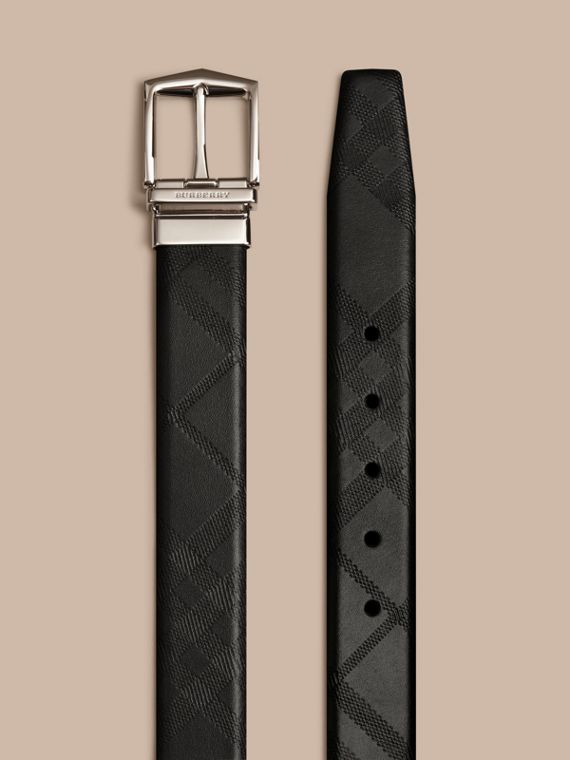 Reversible Embossed Check Leather Belt Black - cell image 2