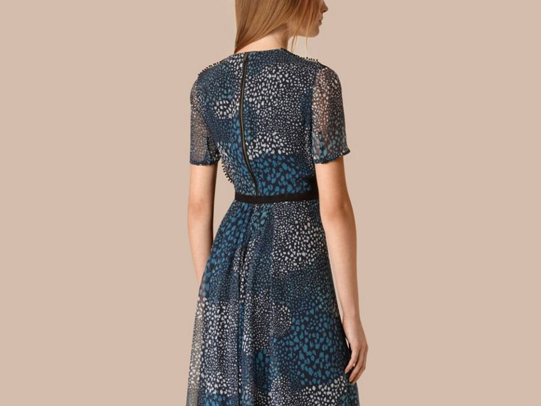 Ink blue Pom-Pom Detail Silk Crepe Dress - cell image 1