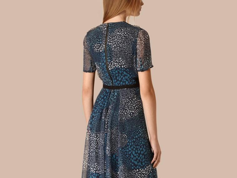 Azul nanquim Vestido de crepe de seda com detalhe de pompons - cell image 1