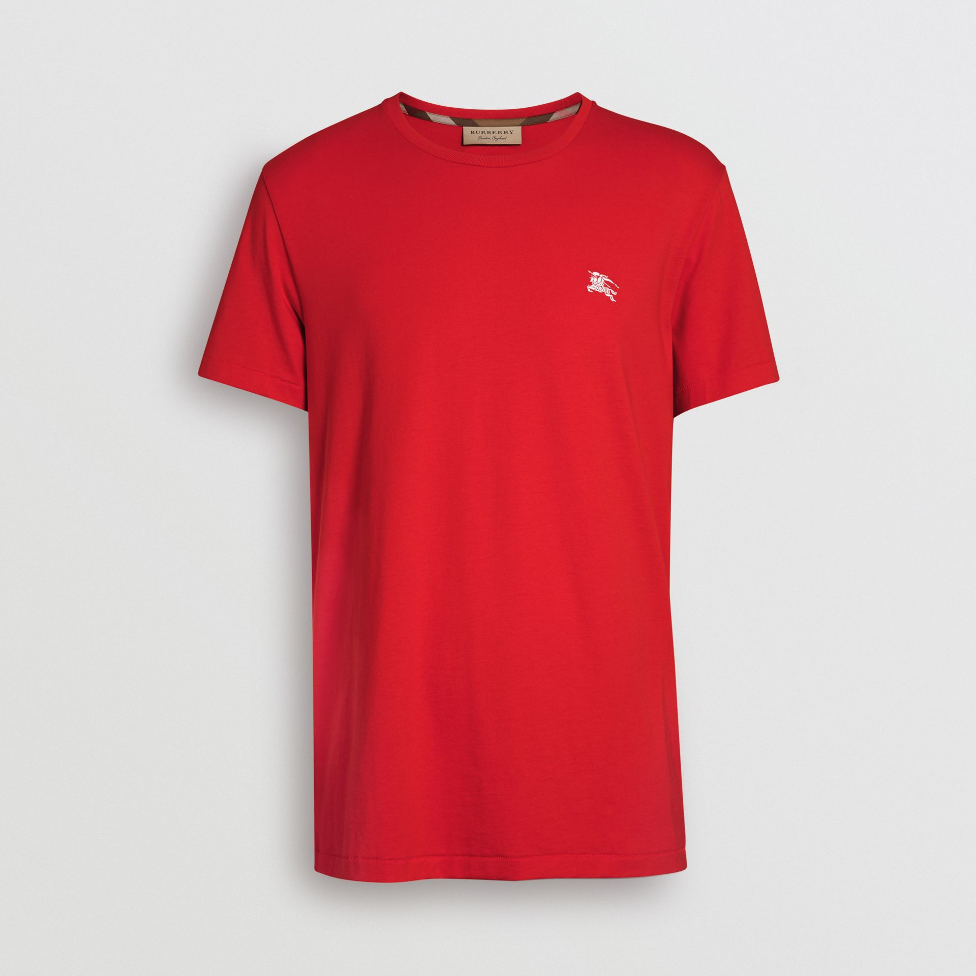 Cotton Jersey T-shirt in Bright Red - Men | Burberry Australia - gallery image 3