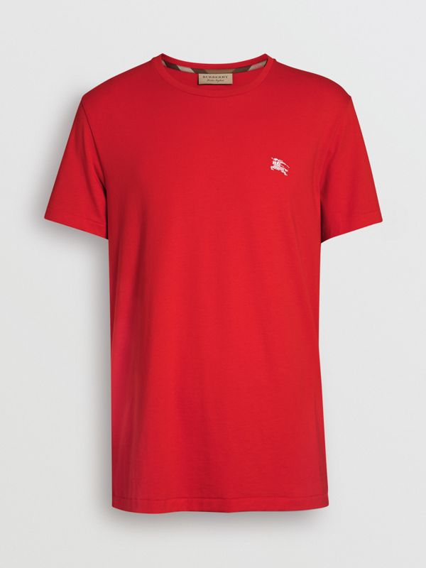 Cotton Jersey T-shirt in Bright Red - Men | Burberry Hong Kong - cell image 3