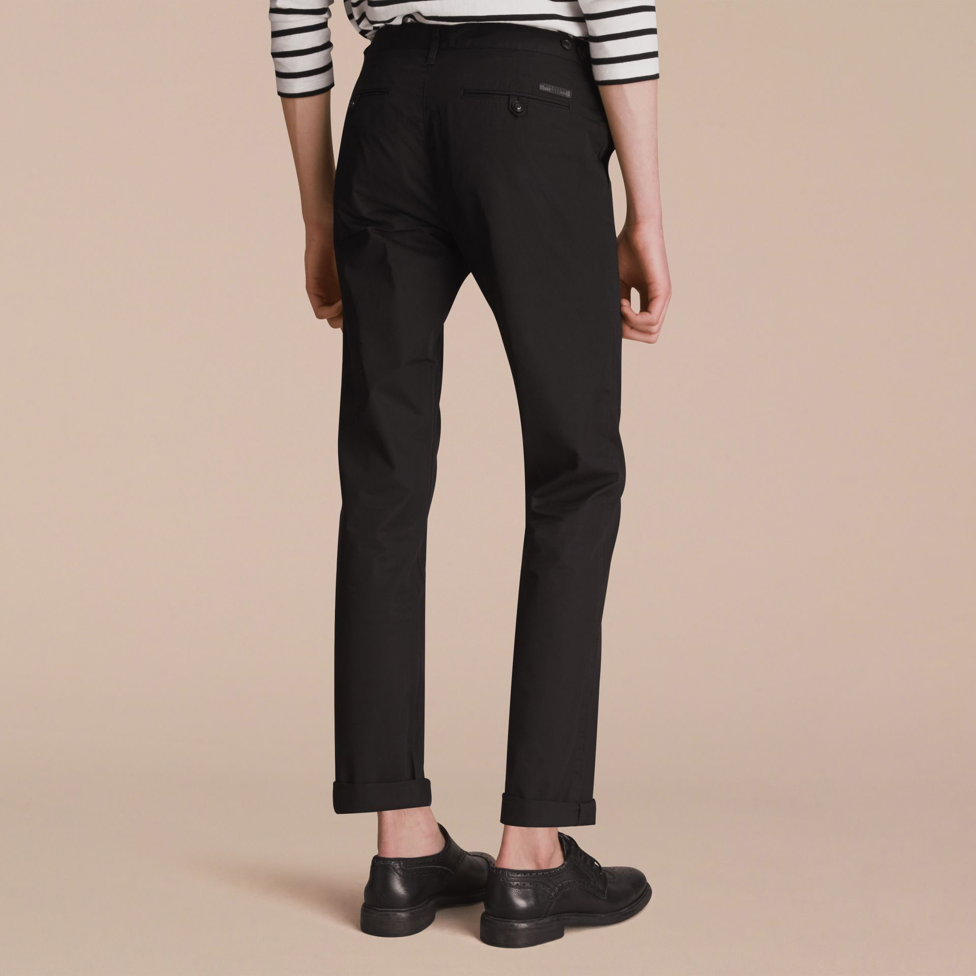 Straight Fit Cotton Chinos in Black - Men | Burberry - gallery image 2