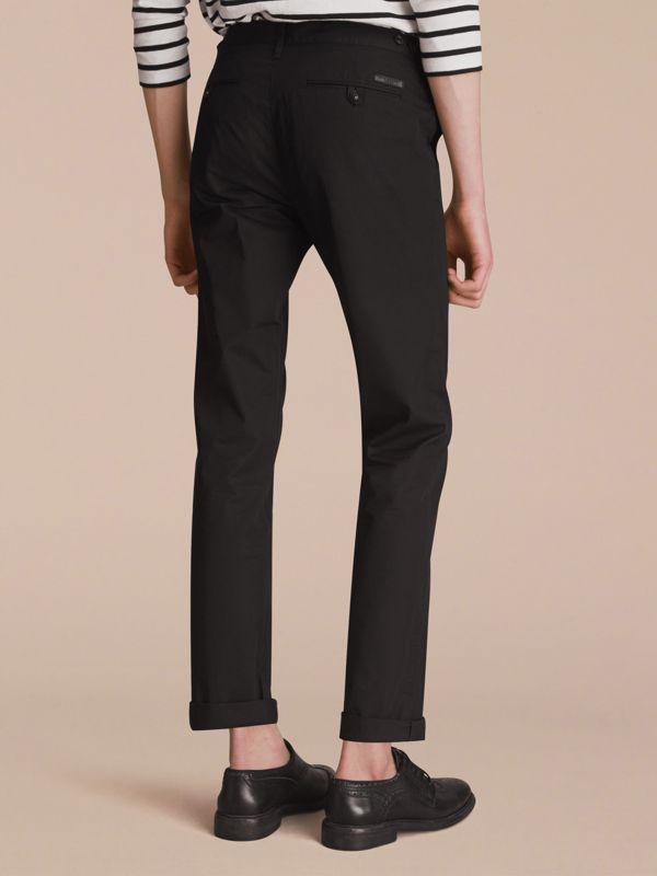 Straight Fit Cotton Chinos in Black - Men | Burberry - cell image 2