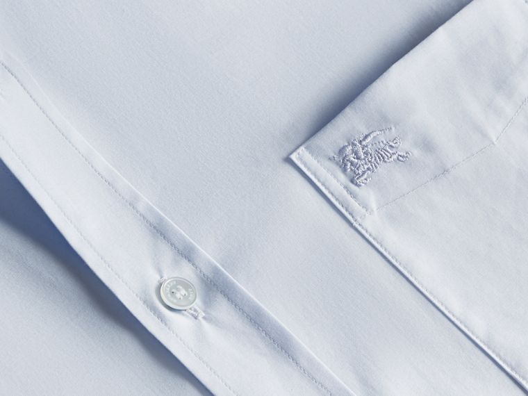 Short-sleeved Stretch Cotton Poplin Shirt in Pale Blue - Men | Burberry - cell image 1