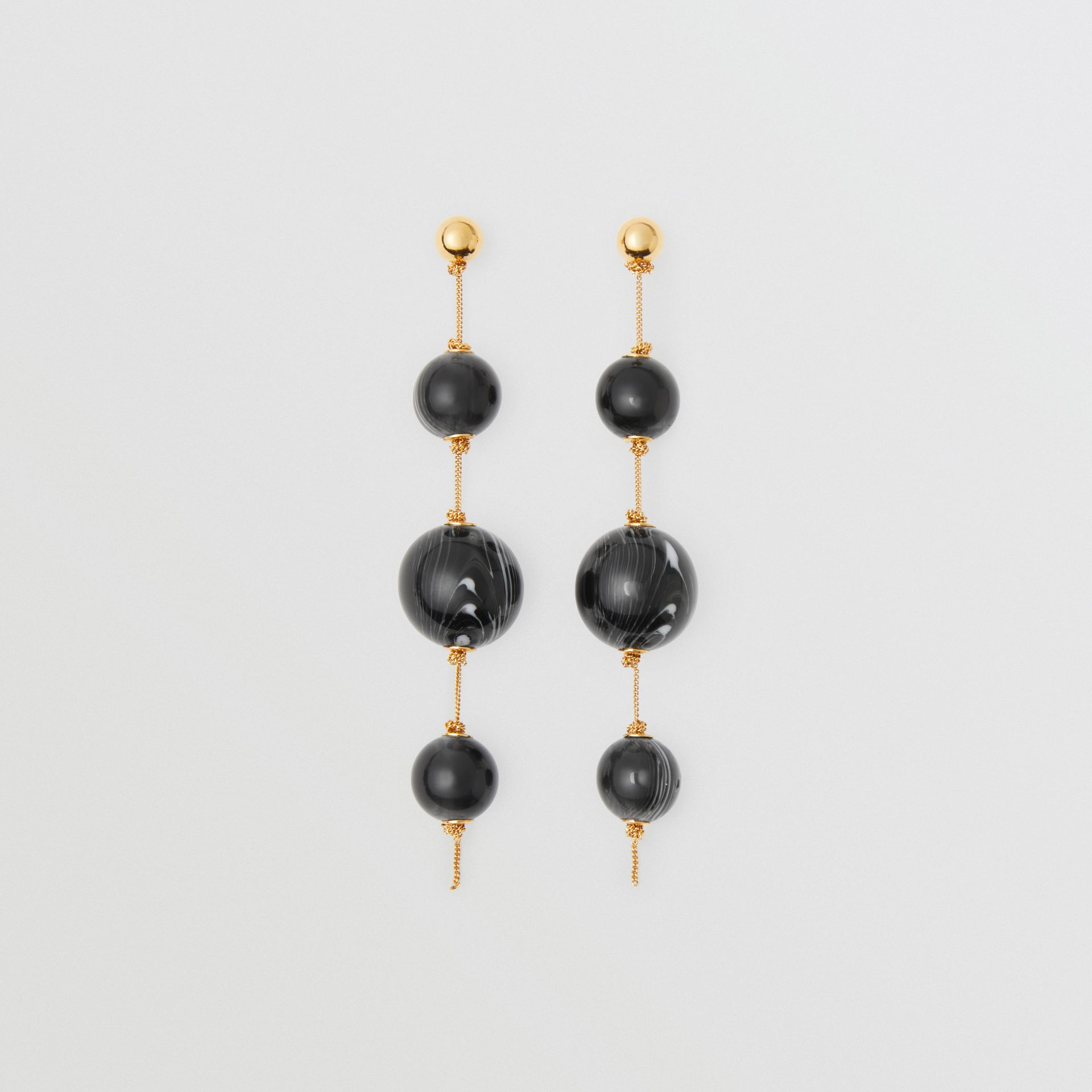 Marbled Resin Gold-plated Drop Earrings in Light Gold/midnight - Women | Burberry United Kingdom - gallery image 0